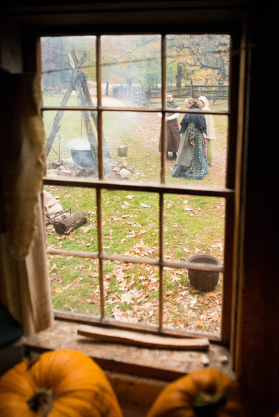 Looking through a window in the Fossebrekke farmhouse.