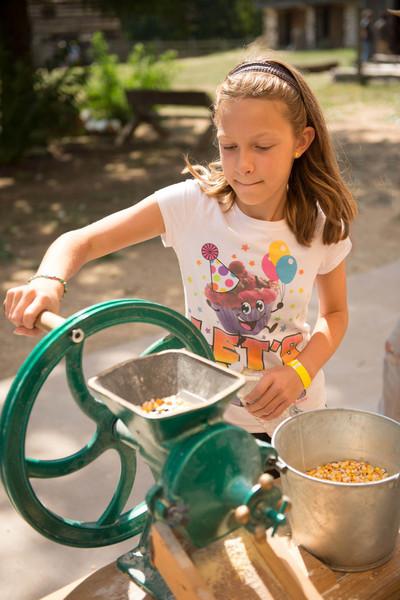 Grinding corn into cornmeal at the Koepsell farm.