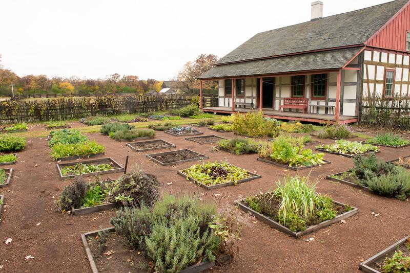 Schulz farm in the German area.  Note how geometric garden beds mirror fachwerk in farmhouse.