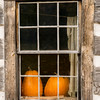 Pumpkins in the window of the Fossebrekke farmhouse.