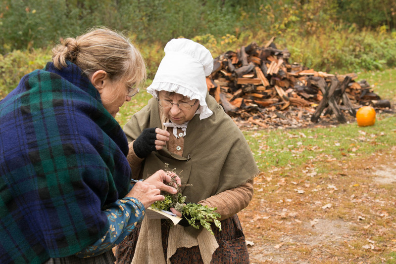 Interpreters at the Fossebrekke farm examine and smell various types of herbs.