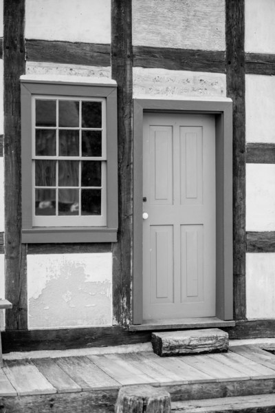 Rear entrance to the Schultz farmhouse in the German area showing the fachwerk (half timbered) construction method common in the 19th century.