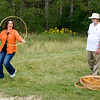 "Participants in the ""Walk with Walker"" event enjoy 19th century children's games at Harmony Hall"