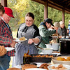 Farm dinner for volunteers and staff at the 1880 Koepsell farm  during the annual Autumn on the Farms special event.  Note how people are dressed in this shot.  It was taken on October 10, 2009 at 11:41 AM.  If you look closely, you can see a slight dusting of snow on the grass.