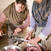 Interpreters at the Schottler farm summer kitchen make sausages during the Autumn on the Farms special event held each October.