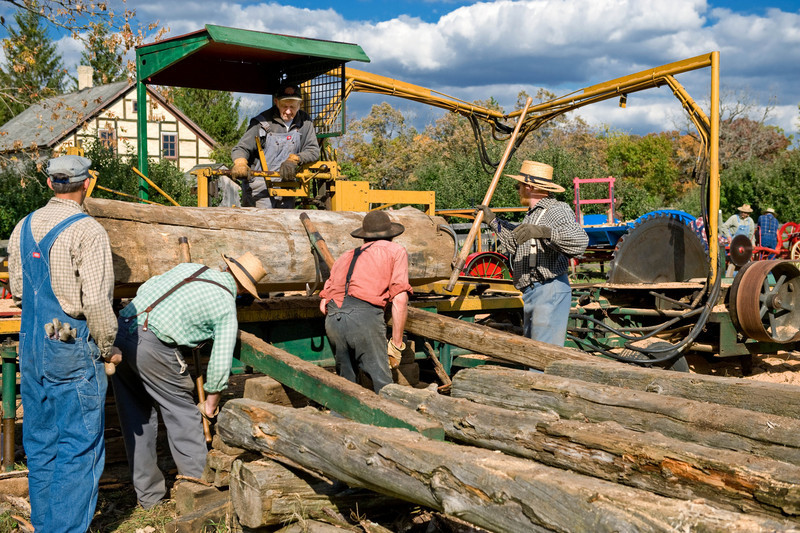 Portable steam engine powered sawmill used at the Autumn on the Farms special event in October.