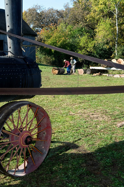 Steam engine used to power the portable saw mill at the annual special event, Autumn on the Farms, in  October.