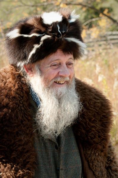 """""""Prairie Bob"""" dressed in his buffalo skin coat and skunk cap."""