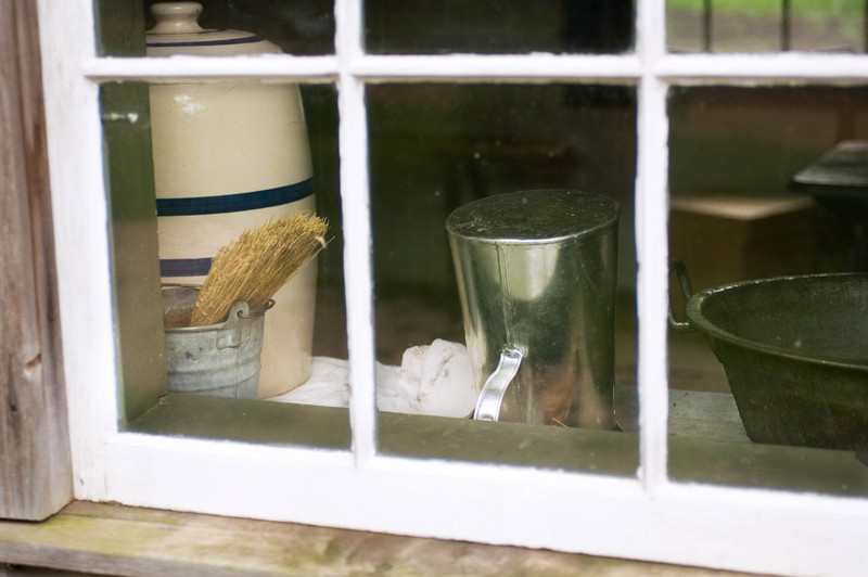 Looking into a kitchen window in the 1890 Pedersen (Danish) farmhouse.