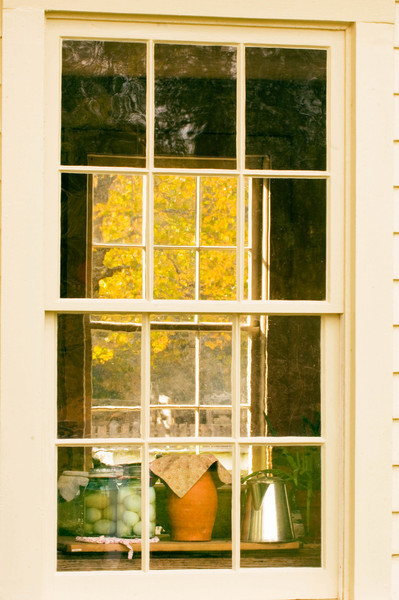 Kitchen windows in the Benson house in Crossroads Village.