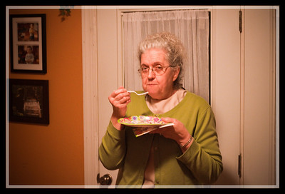 Mom enjoying the fact she didn't have to cook the cake