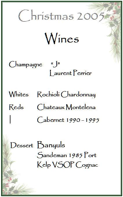 2005 Xmas Party Wine List