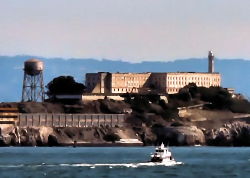 Sat 11-12-05 Alcatraz from Fort Baker (Sausalito) - Painted - Closeup