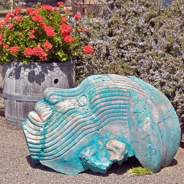 04-05-08 diRosa Preserve with AB & friends. A docent led tour of this huge modern art gallery in wine country. <br /> <br /> I only took a few pictures of the art - only allowed to shoot outside, and much of it was not to my taste. This guy was colorful, though, next to the geraniums and rosemary, so he got in.