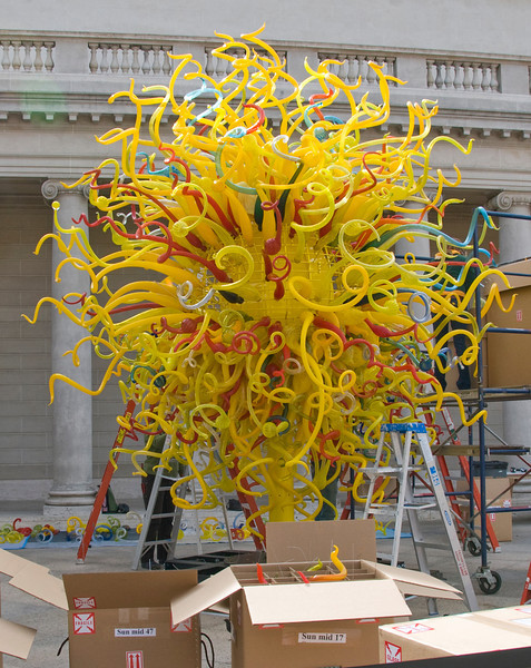 """03-27-08 <a href=""""http://www.chihuly.com"""">Chihuly</a> at the Legion of Honor in San Francisco.  They were installing this Chihuly sculpture outside the Legion of Honor in San Francisco today. Wasn't sure how to show it - crop? Show Detail? So I decided to just upload it at full resolution and suggest that you look at it in the larger sizes if you're interested. It's pretty incredible. And it was surrounded by boxes and boxes of pieces waiting to be attached to the frame."""