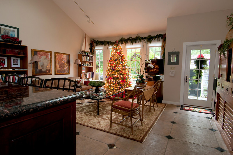 12-10-09 Great Room this Christmas - playing around with the wide angle lens, testing out for party shots on Saturday. Still not happy with how to take this kind of picture with flash. Notice Bonnie on the couch (easy to see her in the larger size images) and you can barely see Clyde on the rug just in front of her. Their usual spots for daytime snoozing.<br /> <br /> Cher & Paul arrive tonight. Cher & I will cook tomorrow and do the final shopping. Finish up flowers, etc on Saturday morning.