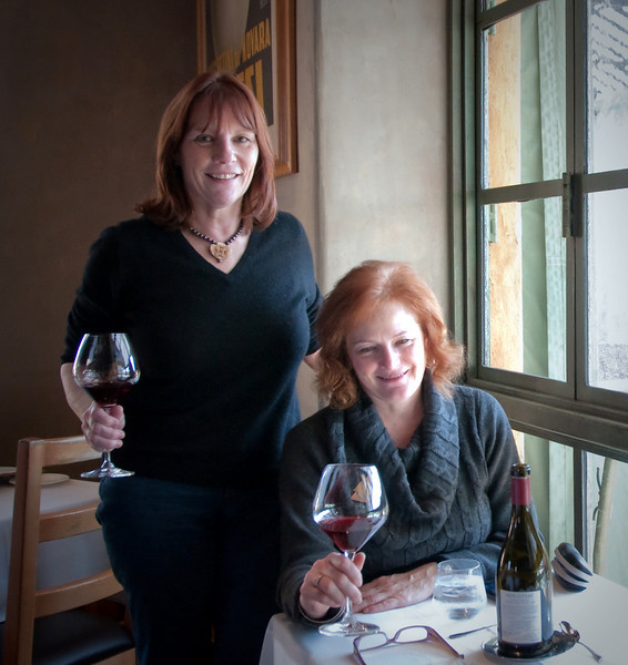 01-08-09 Tra Vigne with Kara<br /> <br /> My Christmas present to Kara - a lunch in wine country. We tried for Martini House but they don't serve lunch on Thursdays. So - we ended up at Tra Vigne - both of our favorite! Had a great bottle of Radio Coteau Pinot and of course I had the short ribs. For starter we shared the house-made mozzarella which was fantastic.