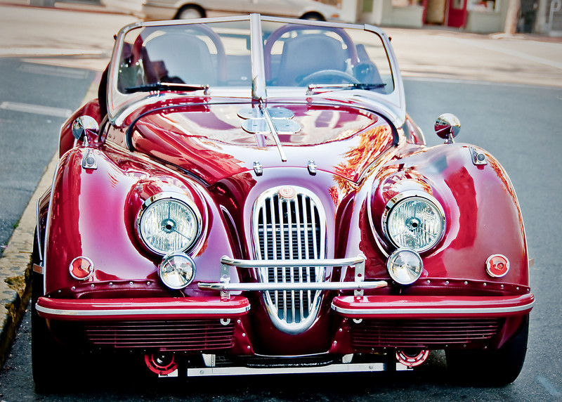 01-18-09 Cool Red Jag in Sausalito-painted more<br /> <br /> Great walk yesterday in Sausalito. Saw this cool, old, red Jag. Played with it in Lightroom and Paintshop.