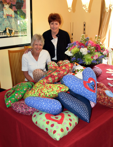 05-29-09 - Party at Kathys - Bente, Vicki and Pillows. Bente, Vicki & some of the other ladies make these pillows for breast cancer patients who may need them after radiation.