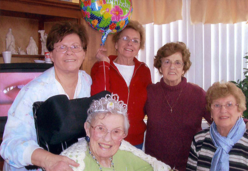 Aunt Jessie's 90th bday, Feb 19, 2010. Here she is with the LaPere girls: Patty, Margie, Bobbette and Janice.