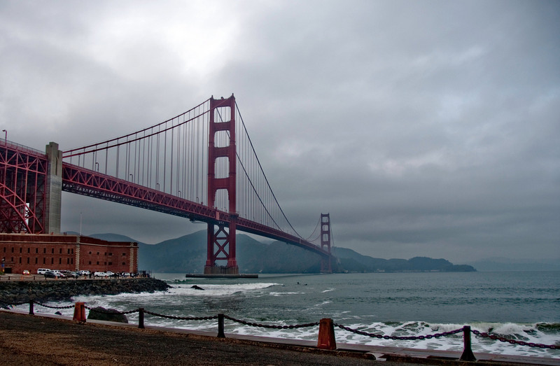 01-11-10 Fort Point - GGBridge<br /> <br /> DLWS Day 1 - evening shoot at Fort Point in The Presidio. Unfortunately, the fort wasn't open. There were some surfers, and the bridge itself. Kind of cloudy as you can see.