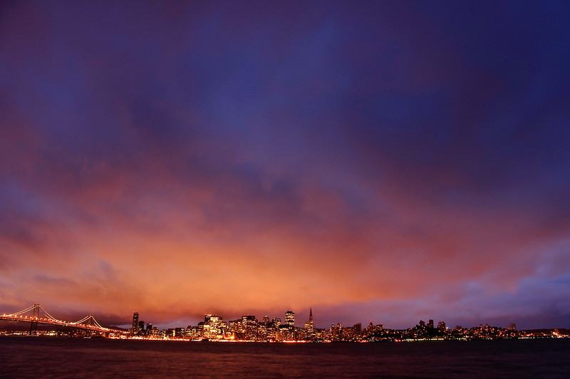 01-12-10 SF from Treasure Island Sunrise<br /> <br /> DLWS Day 2 sunrise shoot from Treasure Island, looking back at San Francisco and the Bay Bridge. Up at 4:30, leave parking lot at 5:30. Another cold, drizzly day.