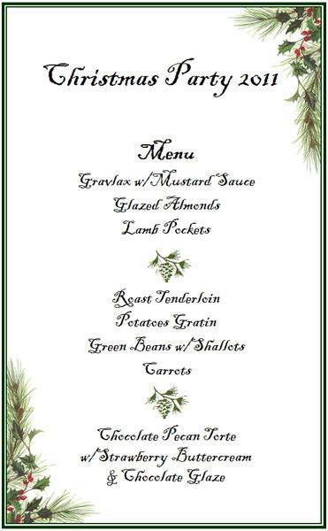 And . . . the menu