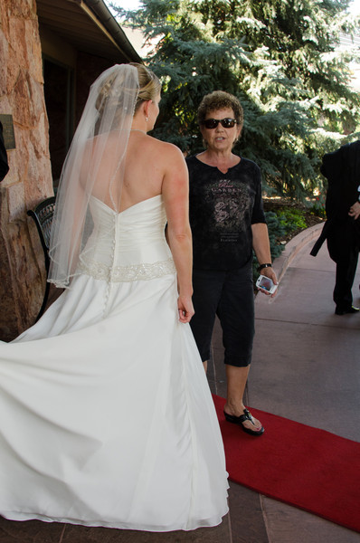 Cher and Angie - the gown has beautiful detail on the back. And Angie's hair was really gorgeous.