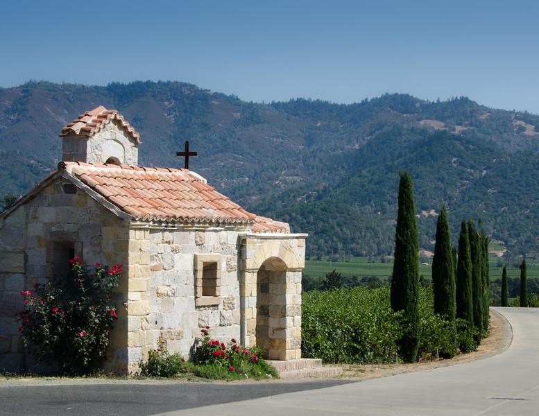 9-2-11 Castello di Amorosa - guard house and driveway. Napa valley in the distance