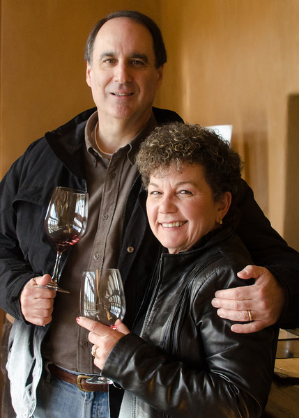 01-08-11 Steve & Cher - after lunch (at Ralph's Bistro, in case you haven't been following along) we hit Ridge winery for a taste & to buy some Guyserville - my fave.