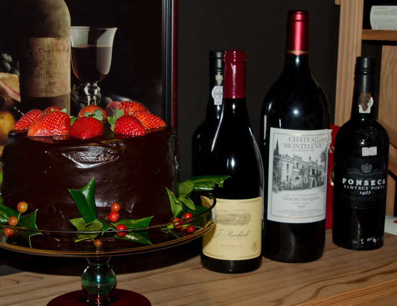 """12-10-11 Xmas Party - dessert & a couple of the wines. <br /> <br /> More pics from the party here:  <br /> <br />  <a href=""""http://jmearns.smugmug.com/Other/2011-Xmas-Party/20615872_FMRLWT#1634201752_wmBMq4q"""">http://jmearns.smugmug.com/Other/2011-Xmas-Party/20615872_FMRLWT#1634201752_wmBMq4q</a>"""