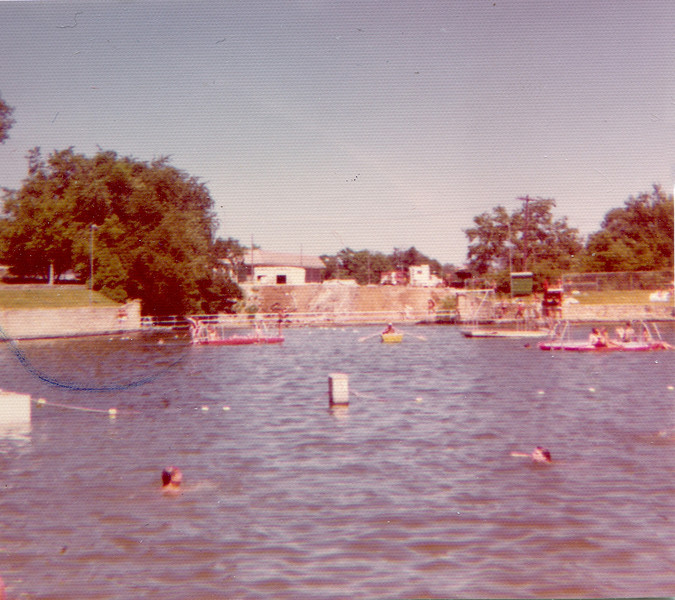 Centennial Beach, 1974.  The old city roadwork dump and recycling center where the park district building now stands can be seen straight across.