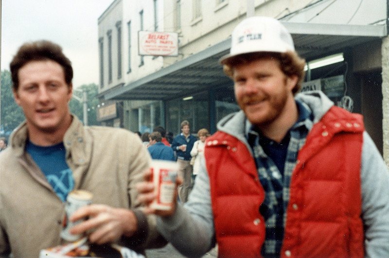 Memorial Day, 1983.  Me and Bill (?) in front of Belfast auto parts
