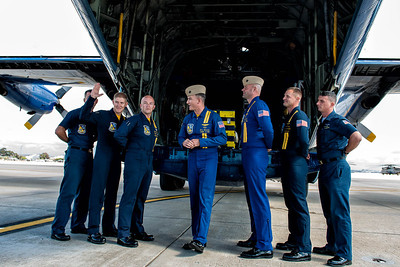 Pre-flight briefing with the Blue Angels C-130T Hercules in the background at the NAS Miramar Air Show 2012;_DSC2233-Edit