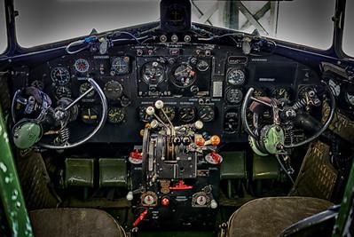 Cockpit of the C47 at the lyons Museum at John Wayne Airport.