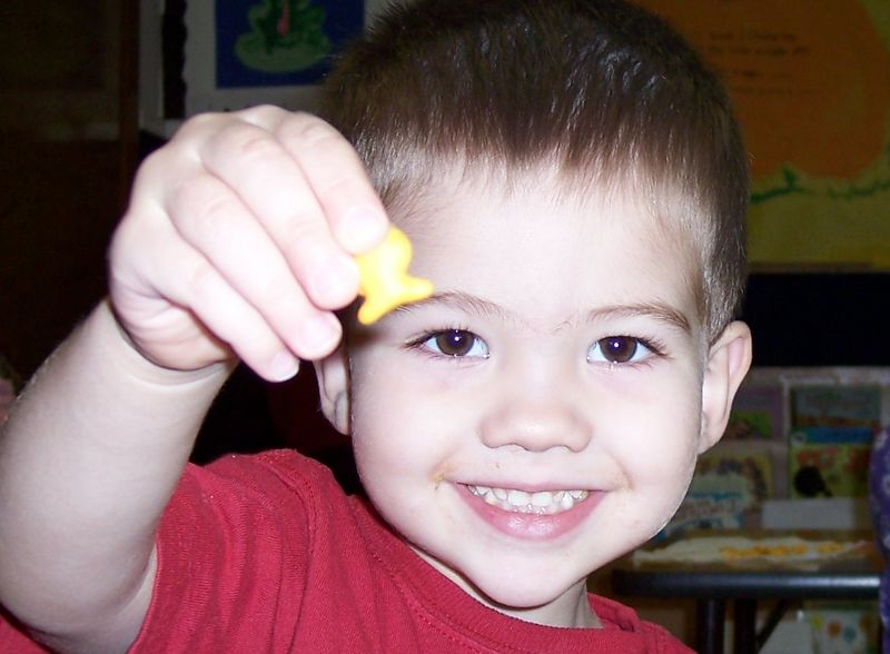 I'm at daycare eating my favorite snack....Goldfish!