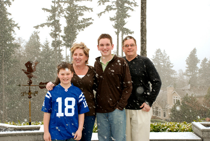 The Pitts family in the snow.