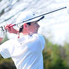 ROB FOUNTAIN/STAFF PHOTO  5-10-2016<br /> AuSable Valley's Nate Devins tees off against Northeastern Clinton Wednesday in Rouses Point.