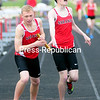ROB FOUNTAIN/STAFF PHOTO  5-10-2016<br /> Saranac runs against Saranac lake in a track meet in Saranac.