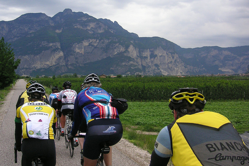 """The group had a tendency to line out and start taking names.  This was rolling \""""easy\"""" for 50 miles or so to the start of the day\'s stage.  \""""Easy\"""" was about 25 mph on the flat!  I\'m in the yellow vest."""