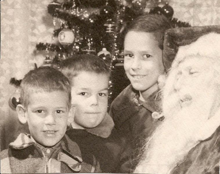 Tom, Bob, Ed with Santa       1952?