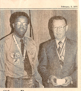 Receiving award for 50 years of Boy Scouts service '78