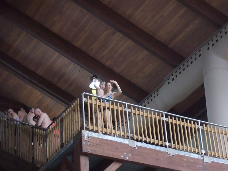 Lynne and Drew waiting 4 stories up for the raft ride down
