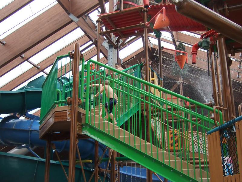 Drew climbing Tall Timbers Treehouse
