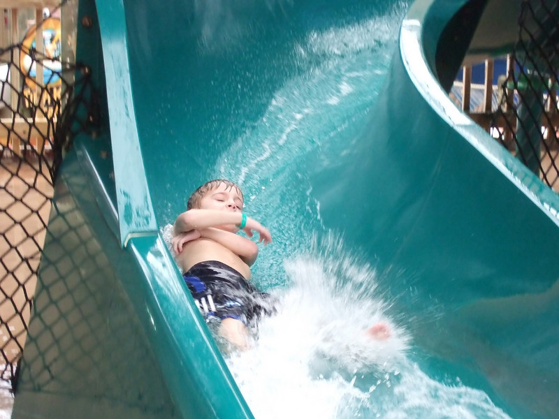 Drew coming down the water slide