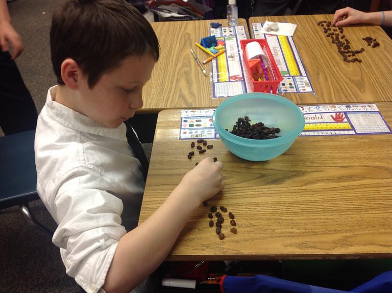 Spelling with raisins