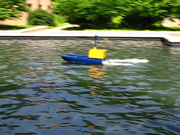 First run of our first vehicle -- UM::Autonomy's 2008 Autonomous Surface Vehicle:: Blue Goose<br /> <br /> Location: Lurie Reflecting Pool, University of Michigan, Ann Arbor, MI, USA