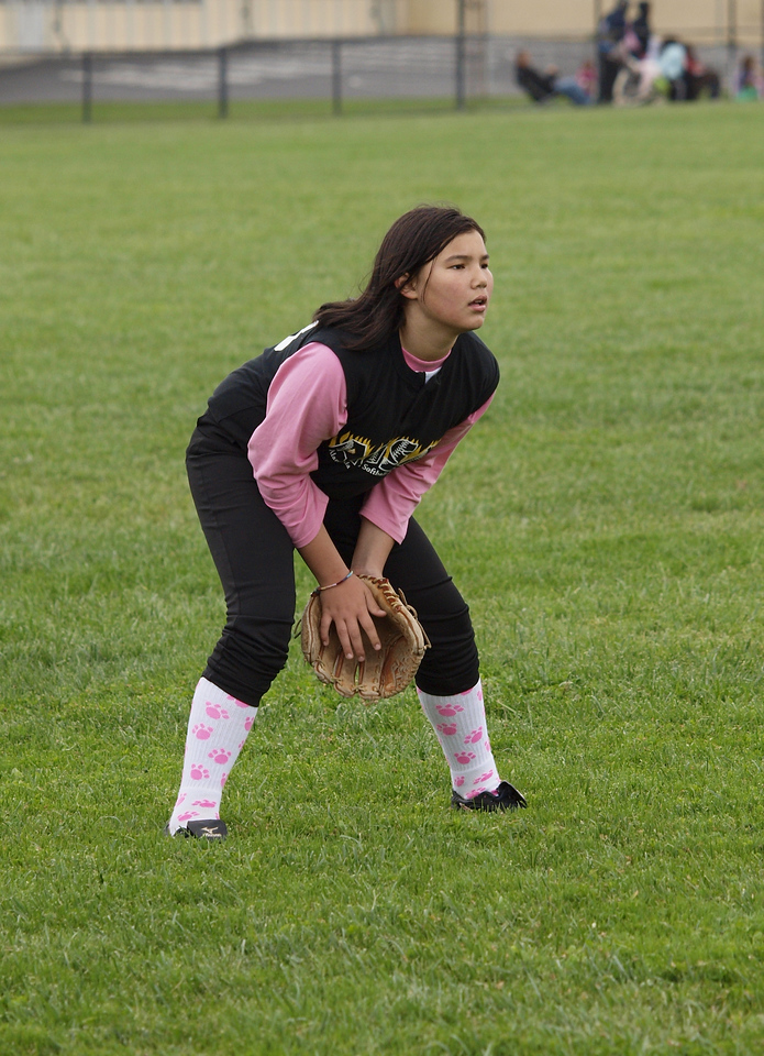 Adia in the outfield