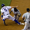 Ian Kinsler gets thrown out stealing second base. (Russell Martin throw to Miguel Tejada at 2B)