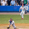 Russell Martin reaches for the throw to home while Brad Lidge backs him up